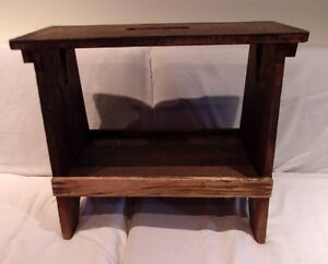 Vtg Primitive Country Farmhouse Maple Wood Footstool Step Stool Bench W Handle