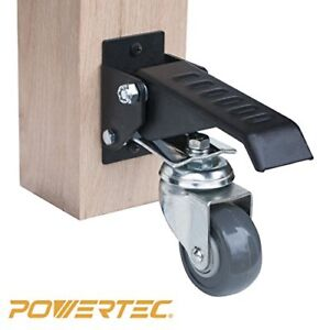 Powertec 17000 Workbench Caster Kit Rolling Pivoting Action 360 Degrees Pack 4
