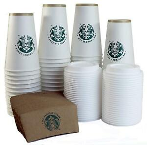 50 Pk Starbucks White Disposable Hot Paper Cup Sleeves And Lids 16oz Coffee Cups