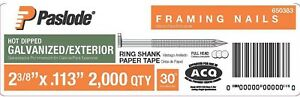 Framing Nails 2 000 Per Box 2 3 8 In X 0 113 gauge 30 Galvanized Paper Tape