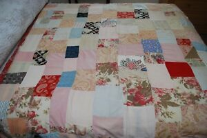 Antique Welsh Turkey Red Border Patchwork Quilt Bedspread 76 X 64 For Some Tlc