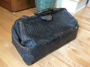 Antique Vintage 1920s Leather Buffalo Hide Doctor S Bag Is 439