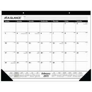 At a glance Monthly Desk Pad Calendar Ruled Blocks January 2019 December 22