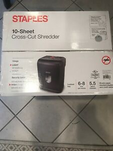 Staples 10 Sheet Cross Cut Paper Shredder New In Box