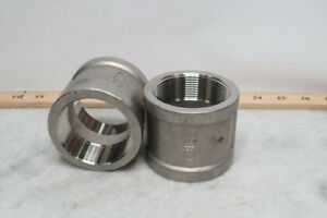 Lot Of 14 2 Stainless Steel Pipe Fitting Full Coupling 316 Ss Threaded Npt