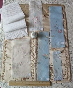 Collection Of 6 Antique Swiss Hand Embroidered Cotton Floral Samples Dolls