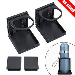 2x Universal Car Truck Folding Cup Drink Holder Can Black Plastic Up To 75mm Dia