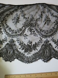 Antique French Handmade Black Chantilly Lace Flounce C1870 L 12 X W 51