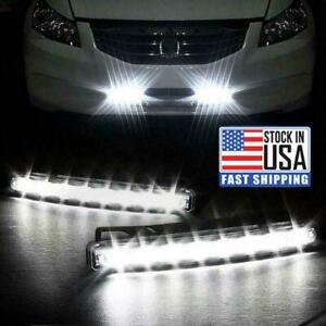 2x 8 Led Daytime Running Lights Car Driving Drl Fog Lamp Light White Bright 12v