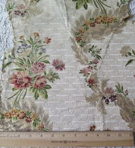 Lovely Antique French C1780 18thc Silk Floral Brocade Fabric L 19 X W 15