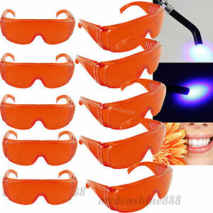 2018 10pc Dental Protective Eye Orange Goggles Glasses For Led uv Curing Light