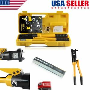 12tons Hydraulic Wire Crimper Crimping Tool Battery Cable Lug Terminal W 11 Dies