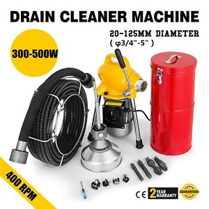 Commercial 100ft Sewer Snake Drain Auger 3 4 Cables Cleaner Cutters Attach