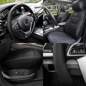 Car Seat Cover Pu Leather Front Buckets Black W Black Steering Cover