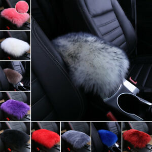 Real Sheepskin Car Armrest Console Seat Comfortable Cover Pad Cushion Pillow Mat