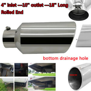 5 Inlet 8 Outlet 15inch Long Rolled Diesel Exhaust Tip Stainless Steel Bolt On