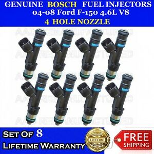 Upgraded 8x Genuine Bosch 4 Hole Nozzle Fuel Injectors 04 08 Ford F 150 4 6l V8