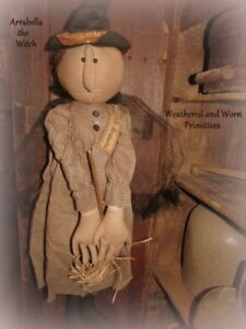 Primitive Country Stuffed Halloween Witch Doll With Aged Fabric Dress 27 Tall
