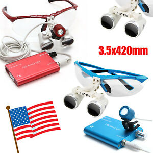 Red blue Dental Loupes 3 5x420mm Surgical Binocular Led Head Light Lamp Usa Ship