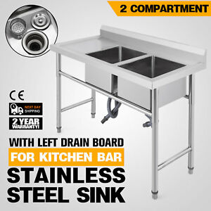 2 Compartment stainless Handmade Sink Left Drain Board Apron Commercial Hotel