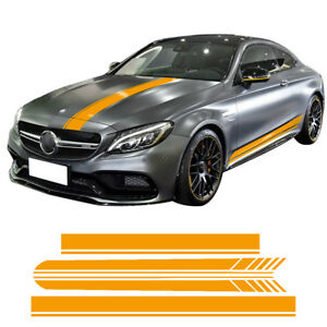 Car Hood Roof Side Stripes Decal Stickers For Mercedes Benz W205 C63 Coupe Amg
