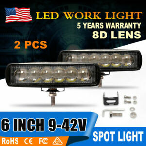 2pcs 5 72w Led Work Light Bar 3000k Amber 4wd Spot Beam Offroad Suv Truck Boat