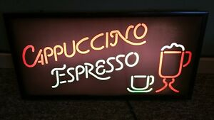 Commercial Coffee Shop Window Hanging Light up Cappuccino Espresso Sign