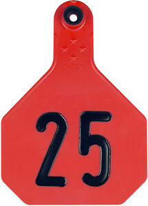 4 Star Large Red Cattle Ear Tags Numbered 51 75