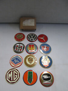 General Mills Lot Of 12 Car Emblems Vw Opel Jaguar Nash Mg Mercedes