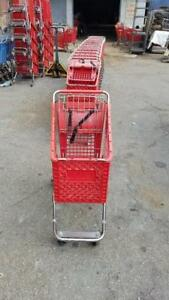 Plastic Shopping Carts Small Lot 10 Red Basket Used Mini Store Fixtures Buggy