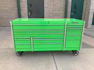 Snap On Ktl7023 Extreme Green Tool Box Stainless Steel Top Cover W 2 Keys