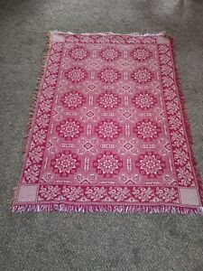 Antique Red And White Woven Coverlet 1800s
