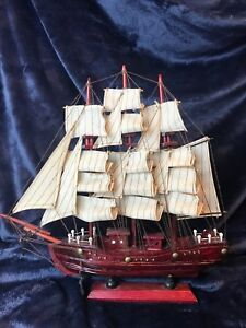 Detailed Carved Wood Model Sailing Ship W 20 Sails 12 1 2 Tall X 12 5 Wide