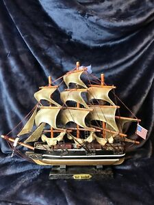 Detailed Carved Wood Model Sailing Ship The Red Jacket 11 1 2 Tall X 15 Wide