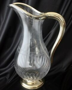 French Silver Mounted Glass Pitcher Gustave Keller