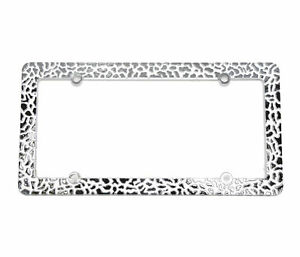 Silver Color Cheetah Leopard Print Metal License Plate Cover Frame W Screw Caps
