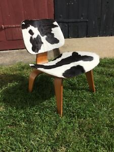 Vintage Herman Miller Eames Plywood Chair Cow Hide Lcw