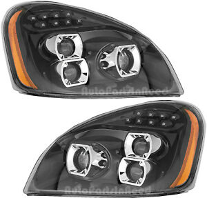 Led Headlight Headlights Assembly W drl Pair Set For 08 17 Freightliner Cascadia