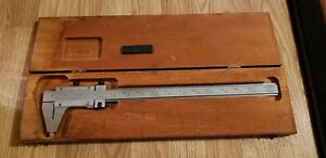 Starrett Vernier Caliper 14 No 123 Hardened Master Bar Wooden Box