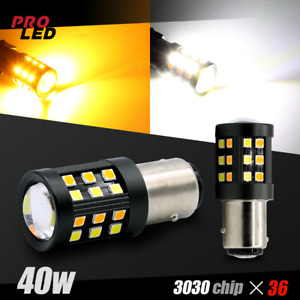 1157 White Amber Led Drl Switchback Turn Signal Parking Light Bulbs Dual Color