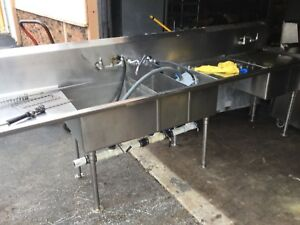 Commercial 3 Compartment Sink With Drain Boards