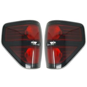 2009 2014 Ford F 150 Svt Raptor Left Right Black Tail Lights With Light Bulbs