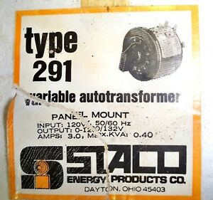 New Staco Variable Transformer Type 291