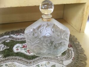 Vintage French Frosted Etched Crystal Perfume Scent Bottle By J C Brosseu