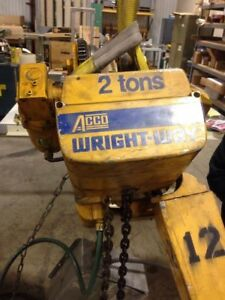Acco Wright way 2 Ton Electric Chain Hoist With Powered Trolley