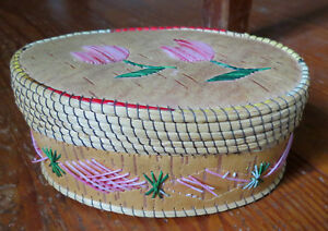 Native American Oval Birch Bark Basket Box With Quills Sweet Grass Ne Us