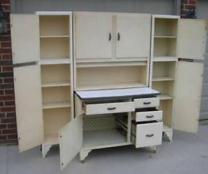 Hoosier Style Cabinet Complete With Two 2 Rare Side Cabinets