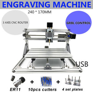 2417 Mini Cnc Router 3 Axis Engraving Machine Wood Carving Cutter Engraver Ups