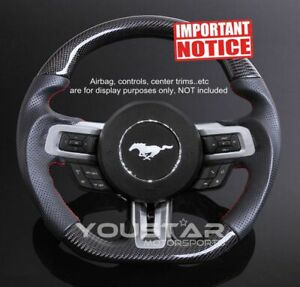 Gt Carbon D type Steering Wheel Nappa Leather Red Stitch For Ford Mustang 15 17