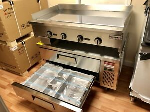 48 Chef Base 48 Flat Griddle Chrome Package Breakfast Drawer Refrigerator